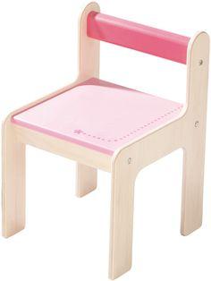 Kinderstuhl puncto rosa  - Material: Birkensperrholz, Lehne Buche.   - Maße: B 27 x H 42 x T 30 cm, Sitzhöhe: 26 cm, Sitzfläche 25 x 22 cm.   - Belastbar bis max. 28 kg.