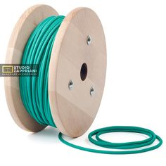 Turquoise green color on a double-core lighting flex cable. This textile wire cord will be wonderful addition to your drum lampshade or any other. The