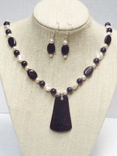 Blue Goldstone Pendant Necklace Earrings with White by jazzybeads