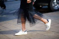 Ramya Giangola pencil tulle skirt & Golden Goose sneakers, street syle
