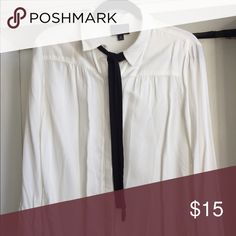 Collared neck tie Blouse Collared button down with a black neck tie ribbon Lumiere Tops Button Down Shirts