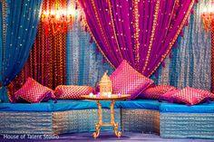Beautiful and colorful sangeet decor http://www.maharaniweddings.com/gallery/photo/85135 @ElegantAffairs1