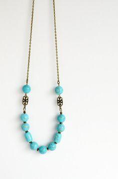 Chunky boho necklace, bohemian jewelry, large bead aqua necklace, aqua boho necklace, turquoise howlite, antiqued brass boho necklace