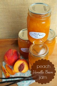 Peach Vanilla Bean Jam.....Judith's comment : this jam is so tasty..that I used it between white cake layers...and added some to the cream cheese frosting...beautiful !