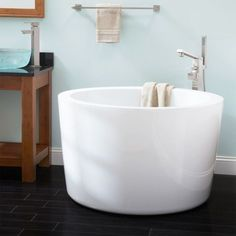 """41"""" Siglo Round Japanese Soaking Tub - Bathtubs - Bathroom 22 I/4 glorious inches from of water depth.... Now thats a soaker!"""