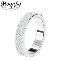 Moonso 925 Sterling Silver Rings Personalized Ring Bands Class Ring Wedding Band For Women Wedding Engagement Jewelry R721 #Affiliate