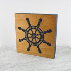 Benoit's Design Co. Laser Engraved X Ships Wheel Panel. Available in natural and navy. Old Bar, Ship Wheel, Laser Engraving, Ships, Navy, Wall Art, Natural, Design, Hale Navy