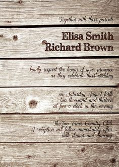 Printable WOOD Rustic Country WEDDING INVITATIONS by ABandIG, $22.00 #WeddingInvitations #UniqueWeddingInvitations #CheapWeddingInvitations