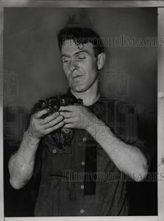 1935 Press Photo Terrence White with Bulldog Puppies Rescued from Sewer New York. Pinned by Judi Crowe.