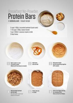 Delicious and cheap, easy to make no-bake protein bars! Can be used as a snack or as all-in-one breakfast. Recipe with a visual step-by step guide. All clean eating ingredients are used for this healthy protein bar recipe. No Bake Protein Bars, Protein Snacks, Homemade Protein Bars, Protein Muffins, Protein Cookies, Vegan Protein Bars, Protein Bar Recipes, Cheap Protein Bars, Homemade Cliff Bars