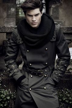 What a great look, with this double breasted, military, punk style, trench coat and knit infinity scarf