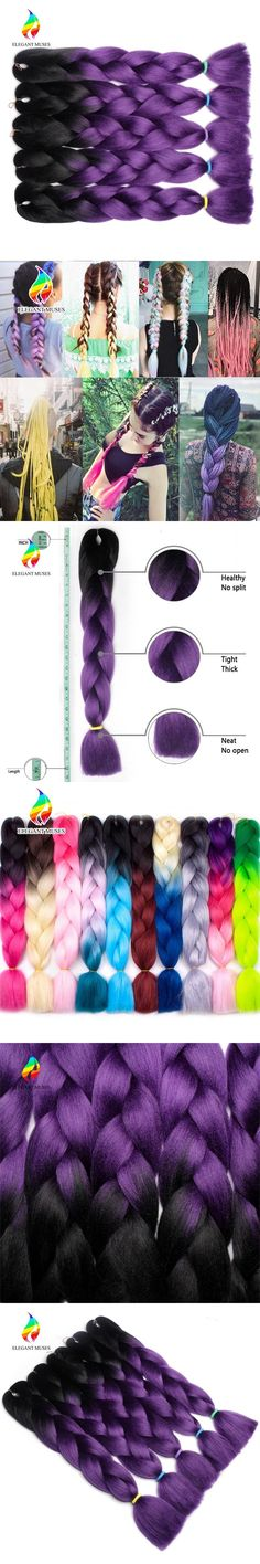 ELEGANT MUSES Crochet Twist Hair Bundles 24 Inch Synthetic Kanekalon Fiber Braids Hair Ombre Jumbo Braiding Hair Extensions #HairBundles