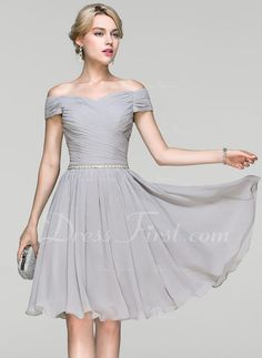 b374fcf328e   123.99  A-Line Princess Off-the-Shoulder Knee-Length Chiffon Cocktail  Dress With Ruffle Beading (016094349)