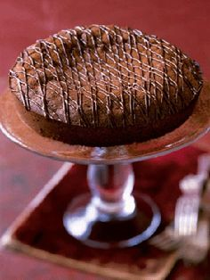 """This """"Hot"""" Chocolate Cake pairs with rich cocoa and bittersweet chocolate with a hint of spicy cayenne pepper."""