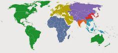 O mundo dividido em sete regiões, cada uma com uma população de 1 bilhão