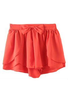 $26 Asymmetric Bowknot Layered Flouncing Orange Shorts http://www.romwe.com/romwe-asymmetric-bowknot-layered-flouncing-orange-shorts-p-81032.html?Pinterest=fyerflys