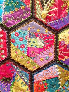Combination of hexies and crazy quilt
