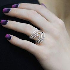 """Swirling"" Diamond Multi Band Ring - Shop Fine Jewelry Online | Plukka"