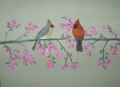 Male and Female cardinals by Htrefethensnidesart on Etsy