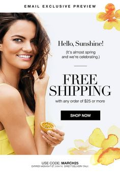 Get Free Shipping on any $25.00 order. Use Code: MARCH25 at http://brookekarnold.avonrepresentative.com Expires: Midnight 3/4/16.