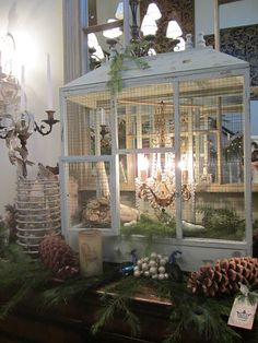 Christmas-  old birdcage ( gorgeous clever idea)!!.Mikal...please send me an old window...oh my goodness this is just darling!