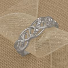 Silver Celtic Ring With Diamonds