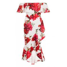 Quiz Ladies Cream And Red Floral Bardot Midi Dress - Cream   Buy Online in South Africa   takealot.com Bardot Midi Dress, South Africa, Cream, Lady, Floral, Stuff To Buy, Dresses, Fashion, Creme Caramel