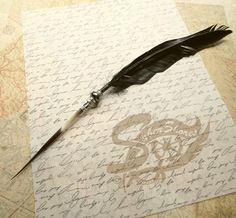 SUPER Sale. Quill Pen Raven's Wing Ink Dip Porcupine Quill Feather Pen and Hematite STEAMPUNK on Etsy, $22.00