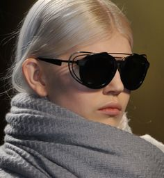 Sunglasses are an accessory where we don't expect to see the layered look, but they've made it work at @Prabal Gurung #nyfw #aw14...