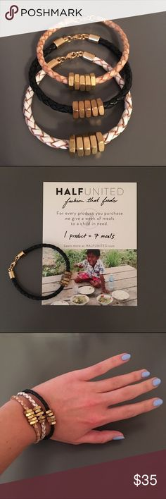 """Half United Honeybee Bracelet - Black Leather and hex nuts represent farming tools to grow food worldwide. Each of these bracelets provides 7 MEALS to a child in need. Lobster clasp is gold plated, handmade in Wilmington, NC, 7"""" in length. (White bracelet also available) Half United Jewelry Bracelets"""