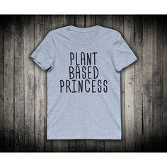 Sassy Vegan Shirt Plant Based Princess Popular Tshirt Vegetarian Quote... ($15) ❤ liked on Polyvore featuring tops, t-shirts, checked shirt, tee-shirt, print t shirts, collar t shirt and blue t shirt