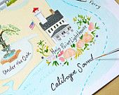 Custom illustrated Wedding Map // Haig Point