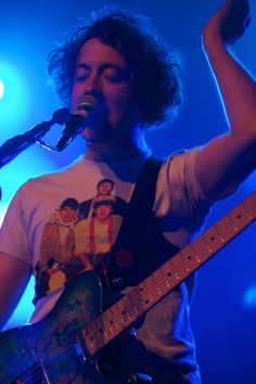 Murph from The Wombats with possibly the coolest vintage T-shirt ever!