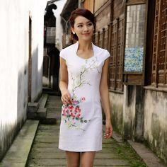 Modern Open Neck Qipao Cheongsam Dress - White - Qipao - Cheongsam - Women