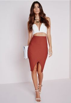 Textured Wrap Front Midi Skirt Terracotta - Skirt - Missguided