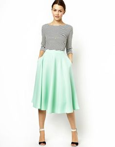 how to wear midi skirt: stripes n strappy sandaled heels