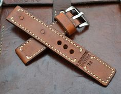 Handmade Vintage Swiss Ammo Leather Watch Strap 24 mm by mysunnystore. Explore more products on http://mysunnystore.etsy.com