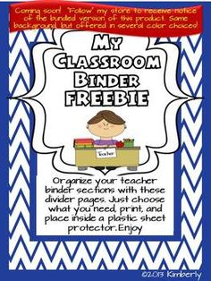 """{FREEBIE} Classroom/Teacher Binder Pages -Blue Chevron Background.  Be sure to """"FOLLOW"""" my Teachers Pay Teachers store to receive notices of new FREEBIES, sales, and products."""