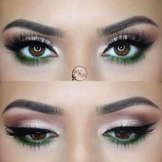 pop of green @makeupbymeggan (waterline / lower lashline) on a neutral eye w/ winged liner #eyeliner #makeup