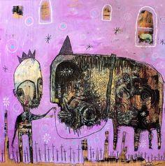 Jesse Reno - king with god on leash - 60 x 60 cm - 2005 jesse reno,art brut,outsider,visionary,folk art,art singulier,painting