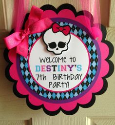 Monster High Birthday Party Door Sign by sweetheartpartyshop