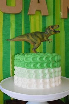 Ombre cake at a dinosaur birthday party! See more party planning ideas at CatchMyParty.com!                                                                                                                                                                                 Más