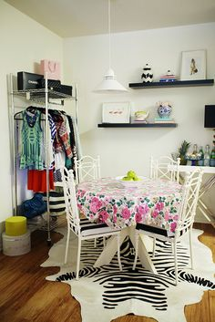 Brilliant!  Dining Room meets dressing area.  With the @Glitter Guide via Jamie Mears i suwanee
