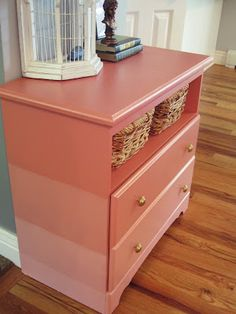 smartgirlstyle: Ombre Painted Dresser. main color: Persimmon Red, by Martha Stewart (use for bed or small dresser?