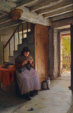 Jonathan Pratt / 1835 - 1911 / An Idyllic Afternoon with Cat