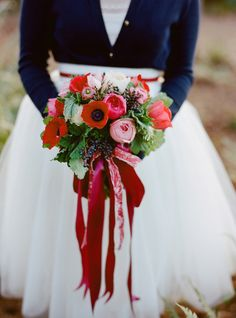 Red + Pink Wedding Bouquet: On Style Me Pretty: http://www.StyleMePretty.com/2014/02/14/valentines-day-love-notes-shoot/ Katie Parra Photography