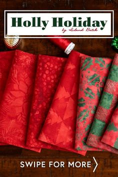 Holly Holiday by Island Batik is a bright batik fabric collection. Featuring dancing reindeer and pretty plaids in classic red and green Christmas, this collection is perfect for your Christmas quilting projects! Shop the available precuts and yardage at www.shabbyfabrics.com!