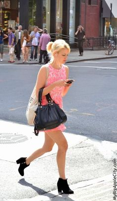 It's way too hot in the city! All you want to do is to wear as less clothes as possible or hide yourself in the freezer. Or, you can still wear your neon mini-dress and go shopping on West Broadway. The boots look nice but a pair of sandals would have been great too.  www.mybigapplecity.com