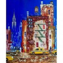 Entre deux taxis (NYC) | 41 x 51 cm | Techniques mixtes sur toile