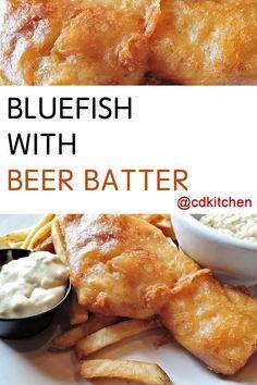 Made with eggs, bluefish, flour, baking powder, salt, lemon-pepper seasoning, beer | CDKitchen.com